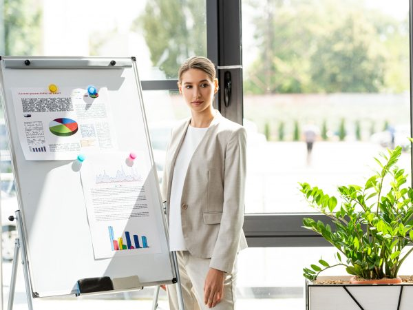 confident businesswoman in formal wear standing near flipchart with infographic in office