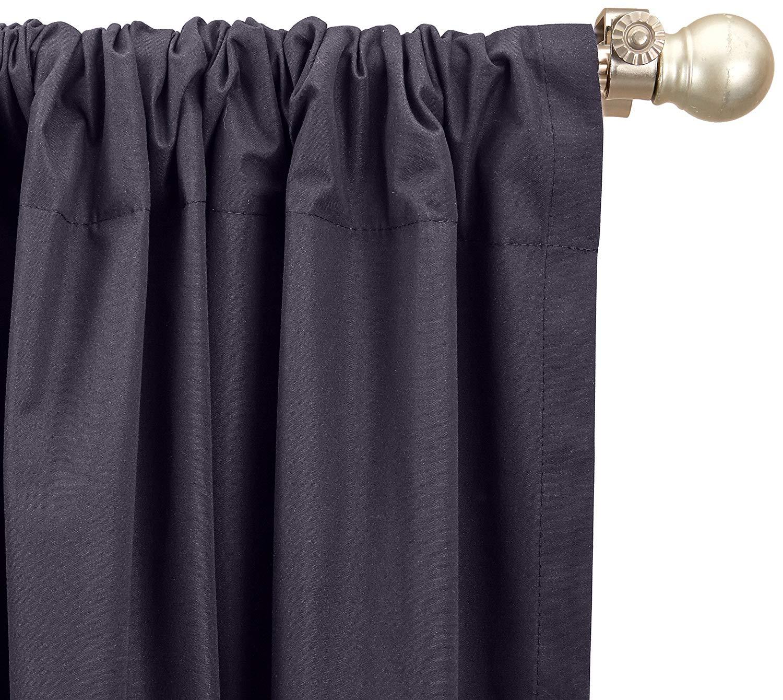 Amazon Basics wärmeisolierender Verdunkelungsvorhang, 1 Stück, 135x244cm (BxL), Schwarz
