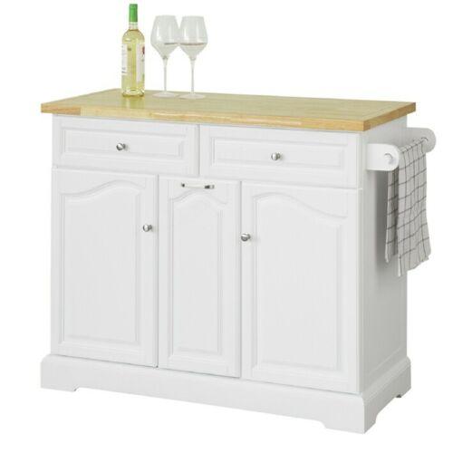 Kücheninsel mit Arbeitsplatte Küchenwagen mit 2 Schubladen weiß FKW100-WN