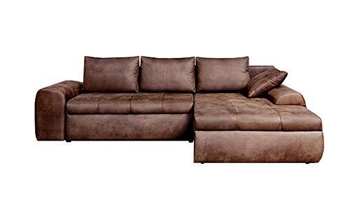 lifestyle4living Ecksofa mit Schlaffunktion und Bettkasten in Braun   Gemütliches Mikrofaser L-Sofa im Vintage-Look mit Stauraum inkl. 4 Rückenkissen