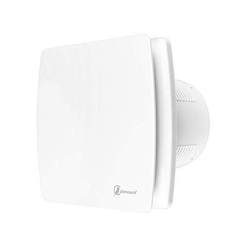 Badlüfter mit Feuchtigkeitssensor 150 mm WC Lüfter Badlüfter mit Nachlauf und Rückstauklappe 240 M³/h 35 db Ipx4 Edelstahl (100 mm, Weiss)