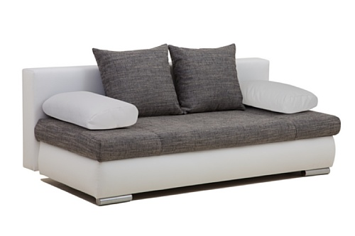 Collection AB Schlafsofa Chicago-PUR Kunstleder, 200 x 95 cm weiß mit Strukturstoff dunkelgrau