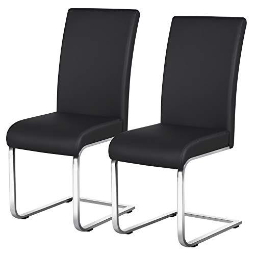 Yaheetech Esszimmerstühle 2er Set Esszimmerstuhl Schwingstuhl Freischwinger, 135 kg belastbar schwarz Kunstleder